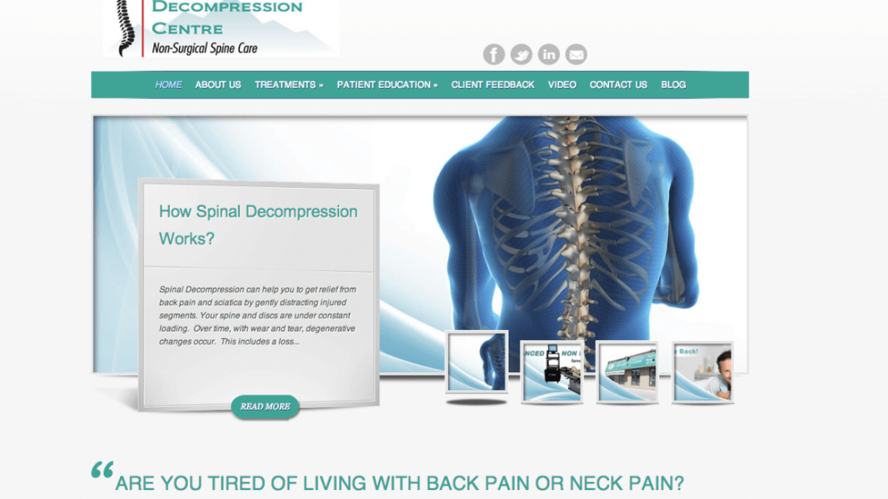 Website Design for Milton Spinal Decompression Centre - Web Page