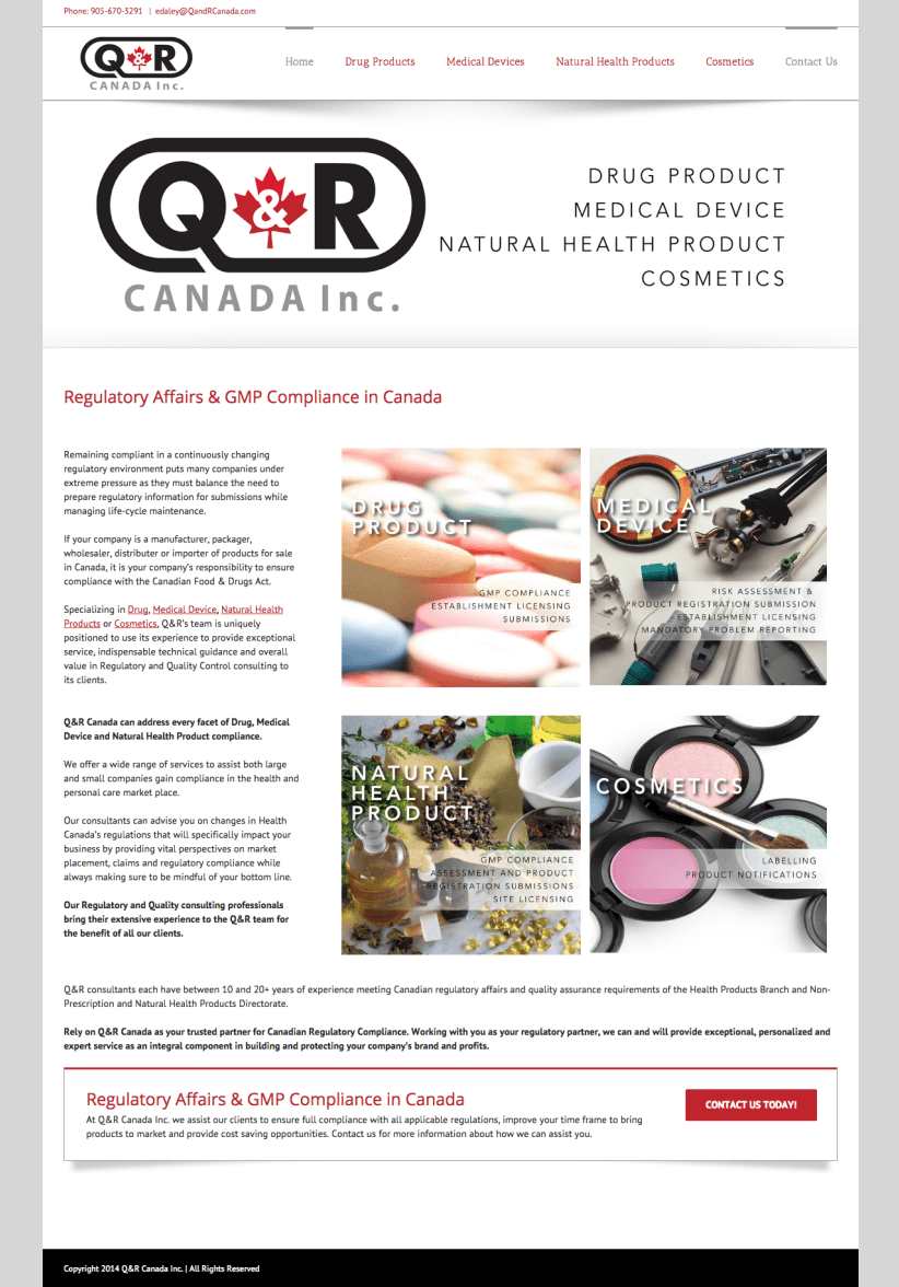 Website Design for QRCanada